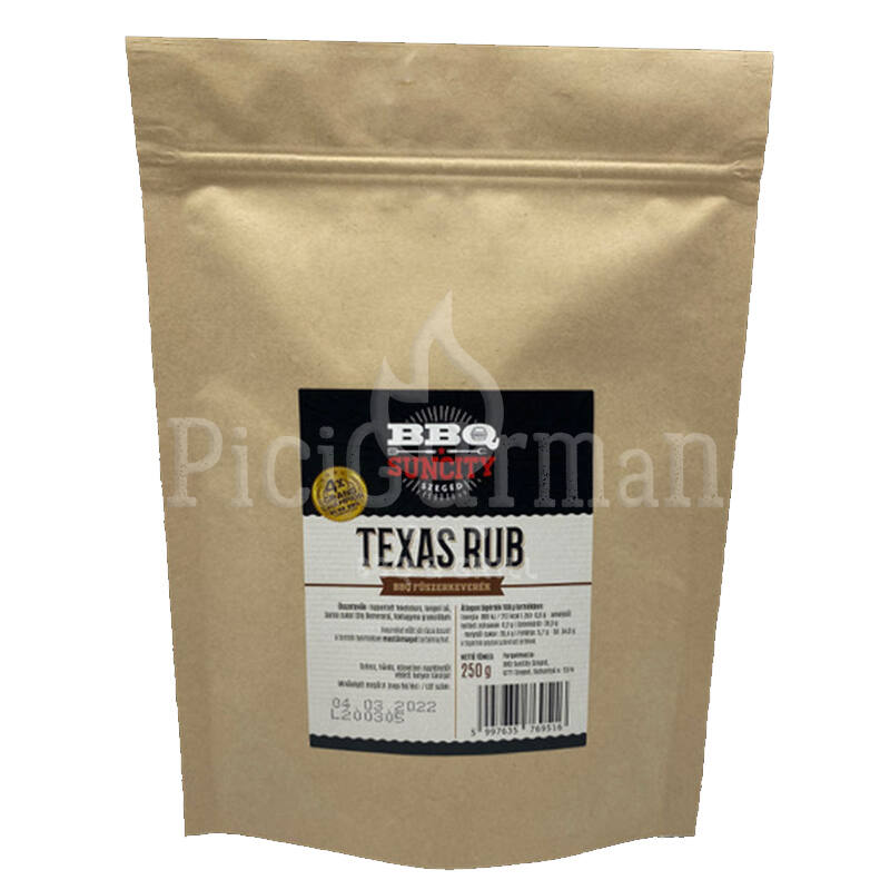 BBQ SunCity Texas Rub 250 g visszazárható tasakban