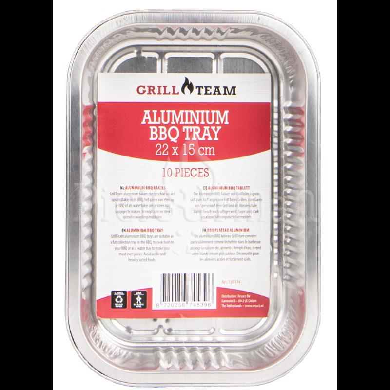 GrillTeam BBQ alumínium tálca 22x15x4,3cm, 10 db
